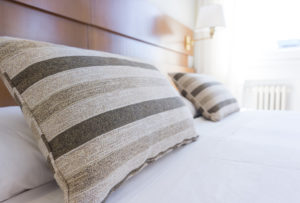 Pillows on a hotel bed